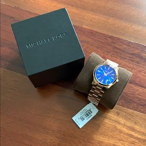 NWT Michael Kora Rose Gold Blue Watch